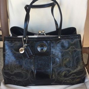 Coach Carry All Patent Leather Signature Purse